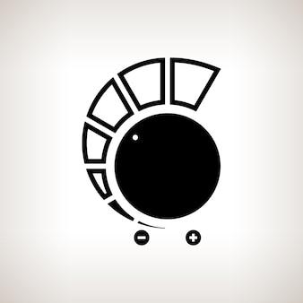 Silhouette lautstärkeregler, power control auf hellem hintergrund, schwarz-weiß-vektor-illustration