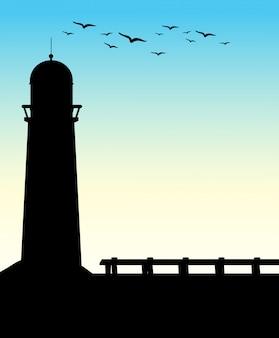 Silhouette leuchtturm