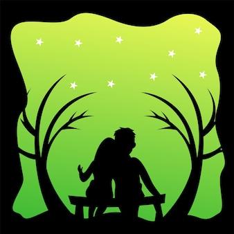 Silhouette-logo eines paares, das auf einem stuhlvektor sitzt
