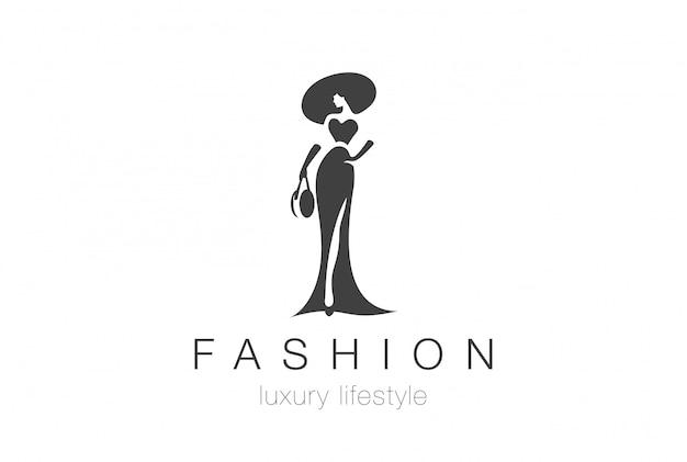 Silhouette-logoschablone der eleganten frau der mode