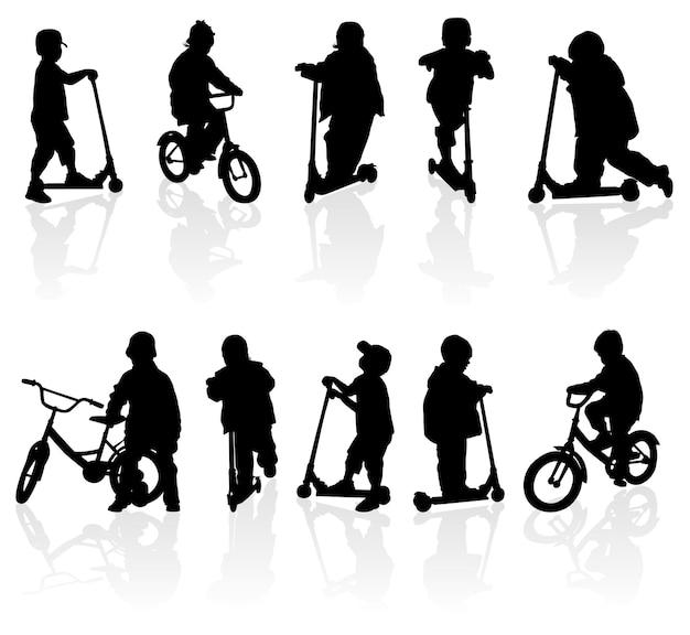Silhouette mädchen und jungen mit fahrrad, illustration