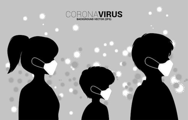 Silhouette menschen mit maske und partikel wuhan oder corana virus hintergrund. konzept für grippekrankheit und krankheit.