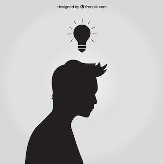 Silhouette mit idee