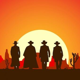 Silhouette mit vier cowboys, die vorwärtsfahne geht,