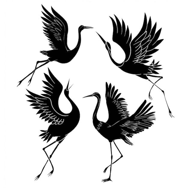 Silhouette oder schatten schwarze tinte symbole von kranvögeln oder reiher fliegen und stehend eingestellt.