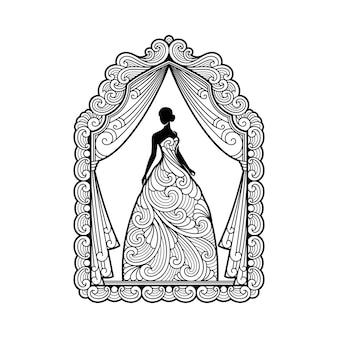 Silhouette ornament frau im kleid für hochzeitsdekoration