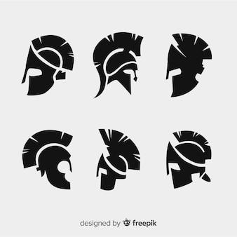 Silhouette sammlung von spartanischen helmen