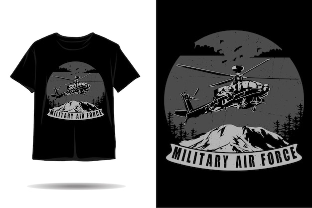 Silhouette-t-shirt-design der militärluftwaffe