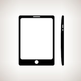 Silhouette-telefon, gadget auf hellem hintergrund, schwarz-weiß-vektor-illustration