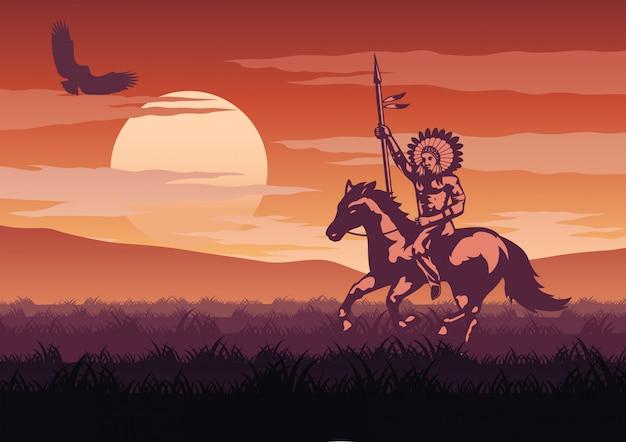 Silhouette und monochrome landschaft red indian