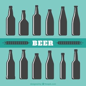 Silhouette von bierflaschen