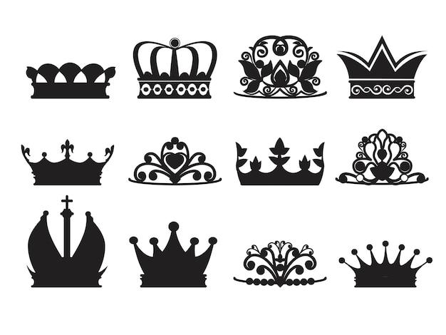 Silhouette von diademen und kronen. monochrome bilder isolieren. kronkönigin oder prinzessin, luxuskronendekorationsillustration
