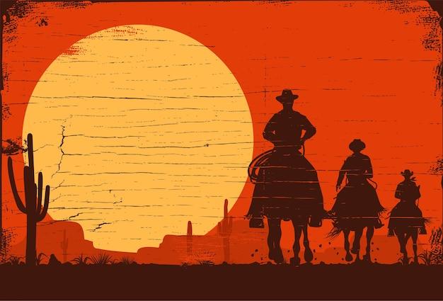 Silhouette von drei cowboys, die pferdehintergrund reiten, vector