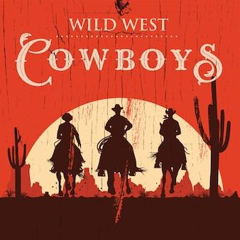 Silhouette von drei cowboys, die pferdehintergrund reiten,