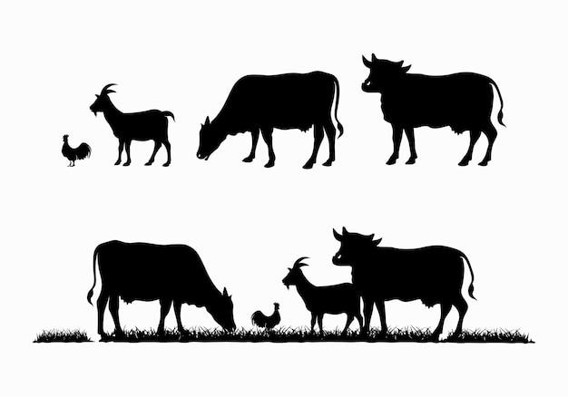Silhouette von gras, rindern, huhn, ziege, kuh. tierlogo-design-vorlagenillustration