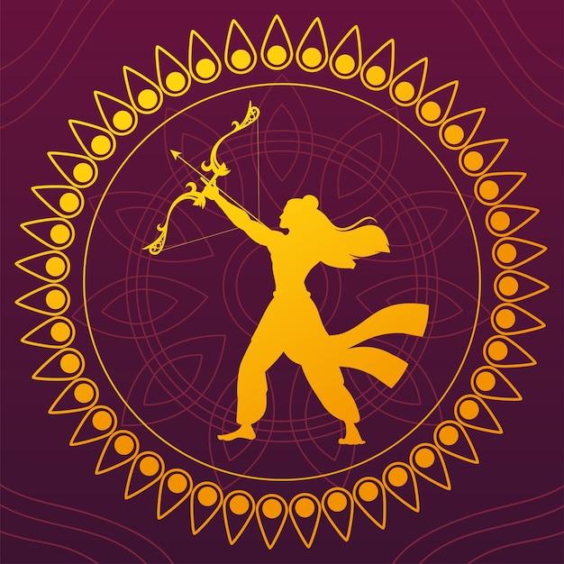 Silhouette von lord rama mit pfeil und bogen, für indisches fest