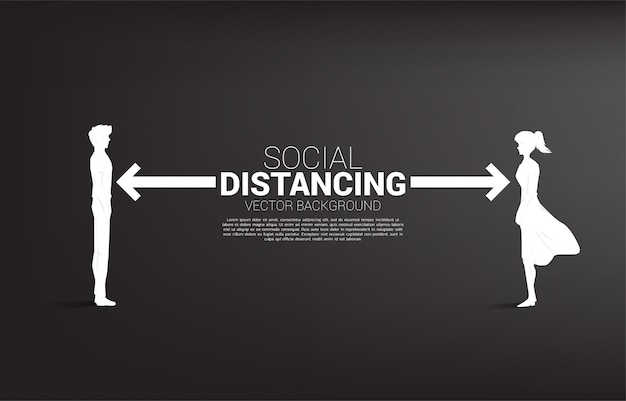 Silhouette von mann und frau, die mit abstand stehen, um viren zu vermeiden. konzept der sozialen distanzierung und isolation.