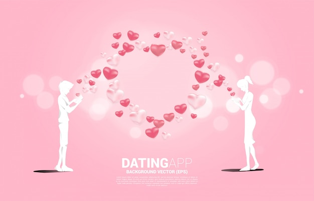 Silhouette von mann und frau verwenden handy mit mehreren herzpartikeln. konzept für online-liebes- und dating-anwendung.