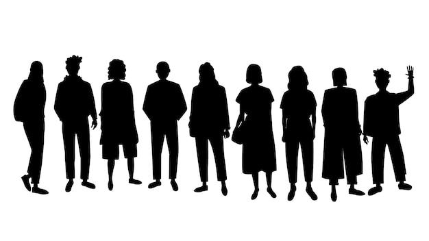 Silhouette von menschen, gruppe von menschen