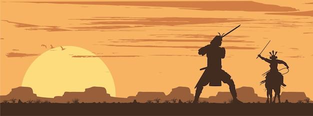 Silhouette von zwei japanischen samurai-schwertkämpfen