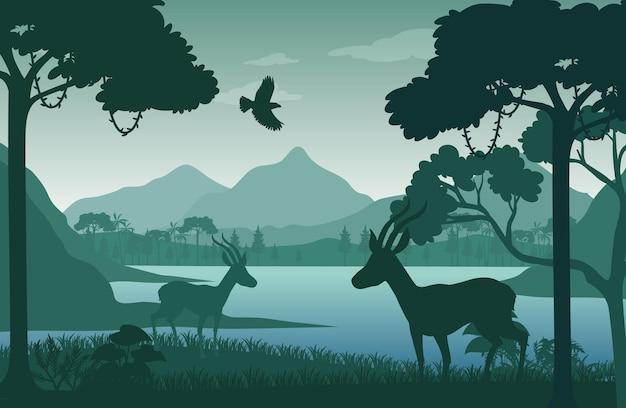 Silhouette waldlandschaft hintergrund