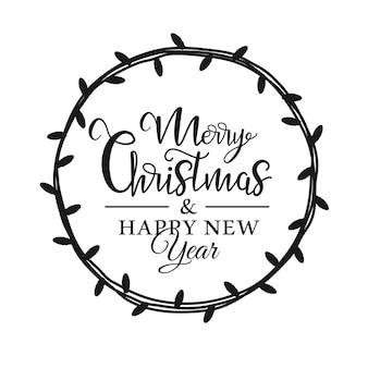 Silhouette weihnachtslichtgirlande mit der aufschrift im inneren isoliert auf weißem hintergrund