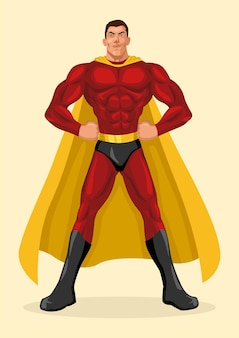 Silhouetteillustration eines superhelden, der mit den händen auf den hüften aufwirft