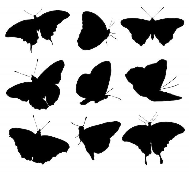 Silhouetten der buttefly lokalisiert auf weißem hintergrund. vektorillustration