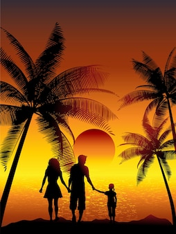 Silhouetten einer familie, die an einem tropischen strand spazieren geht