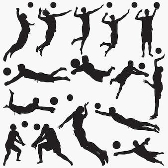 Silhouetten mann volleyball gesetzt