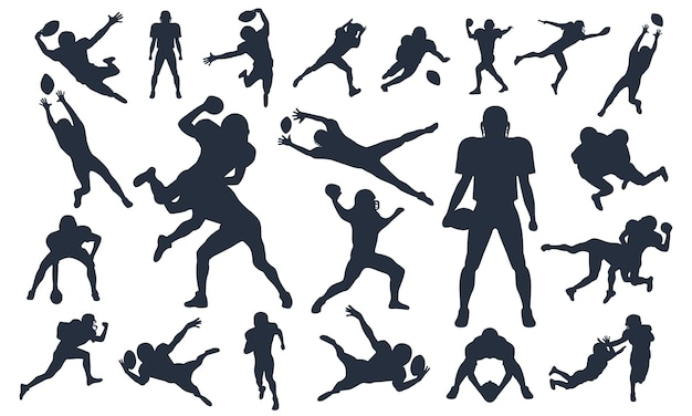 Silhouetten setzen spieler des amerikanischen fußballs