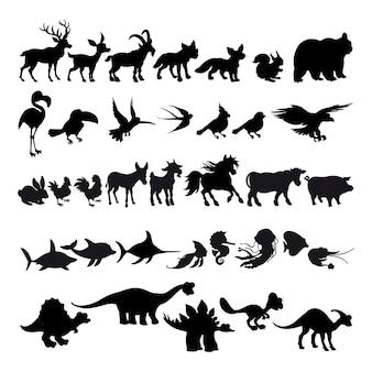Silhouetten von comic-tieren