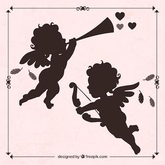 Silhouetten von cupid