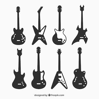 Silhouetten von dekorativen e-gitarren
