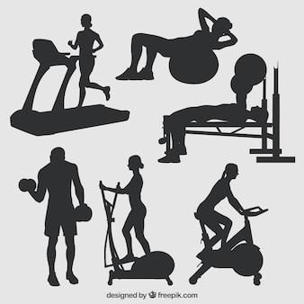 Silhouetten von fitness-studio