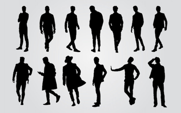 Silhouetten von gelegenheitsleuten in einer reihe. mann silhouette