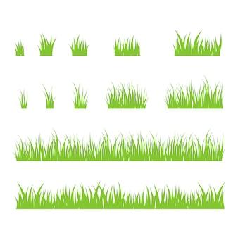 Silhouetten von grünem gras.