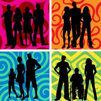 Silhouetten von gruppen von menschen auf abstrakte hintergründe