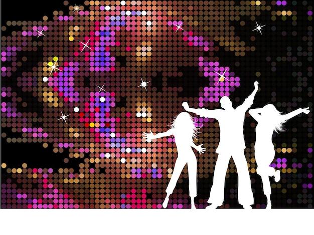 Silhouetten von menschen, die auf disco-hintergrund tanzen