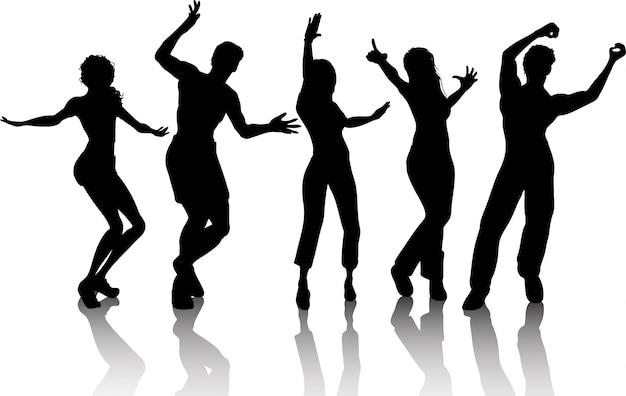 Silhouetten von menschen tanzen