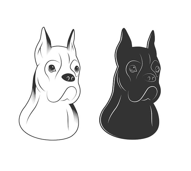 Silhouetten von reinrassigen hunden