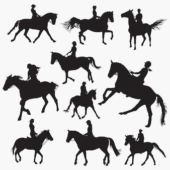 Silhouetten von reitpferden
