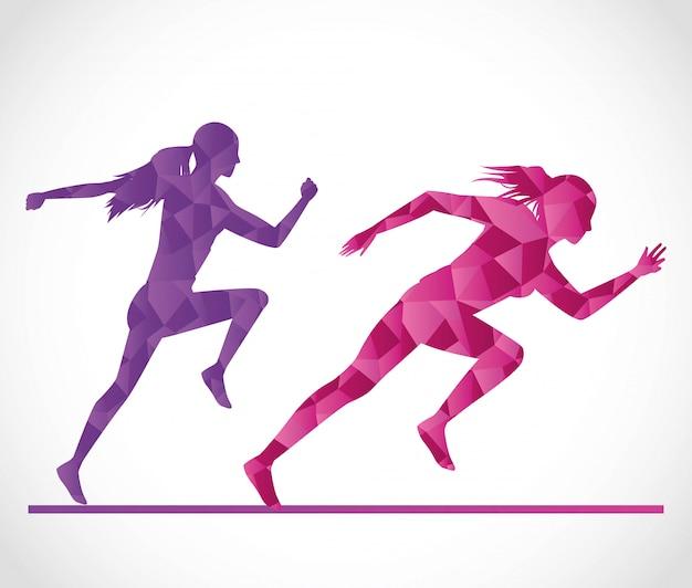 Silhouetten von sportlichen frauen laufen