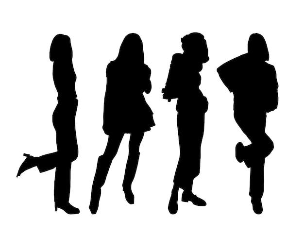 Silhouetten von vier jungen koketten mädchenmodellen, die in streetstyle-kleidung posieren. zum drucken und laserschneiden. vektor-illustration.