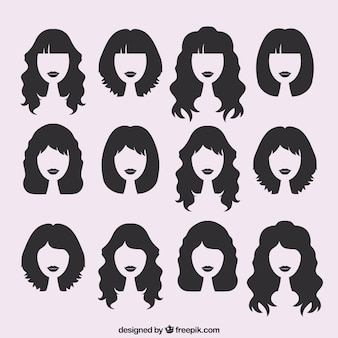 Silhouetten von weiblichen haarschnitte