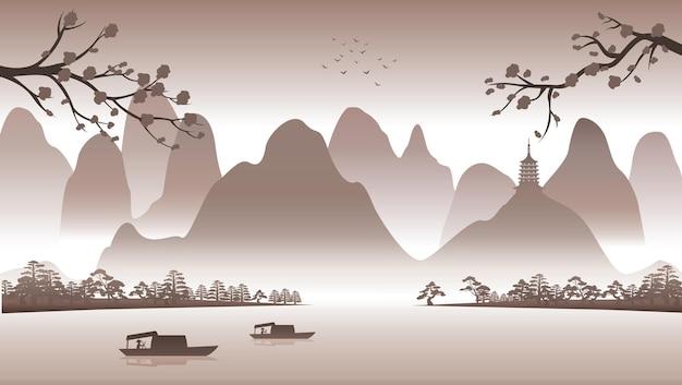 Silhouettendesign der chinesischen naturlandschaft mit computerkunst
