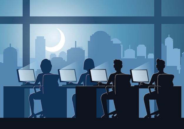 Silhouettendesign von büroangestellten, die im laufe der zeit arbeiten