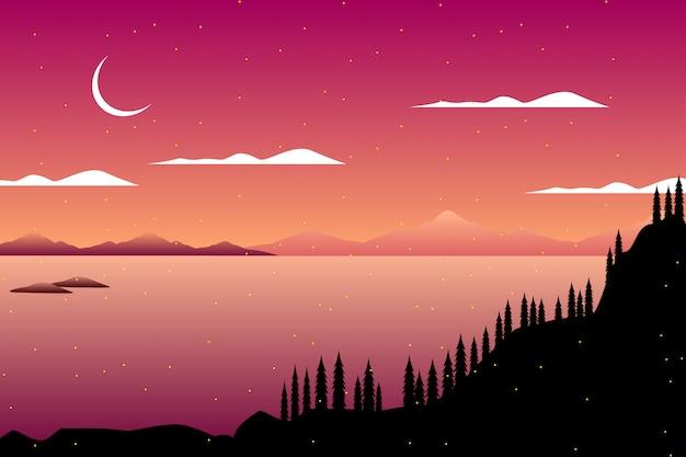 Silhouettieren sie kiefernwald auf gebirgs- und sternennachtseehimmelhintergrund