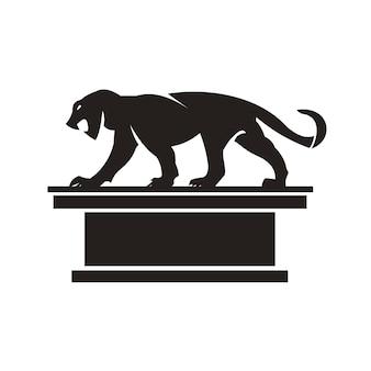 Silhouettieren sie schönen jaguar auf einem weißen hintergrund.