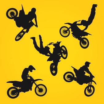 Silhoutte motocross-aktion